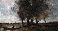 barque a la rive, au pied d'un groupe d'arbres by jean-baptiste-camille corot