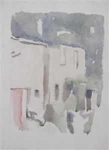 paesaggio, casa bruciata by giorgio morandi