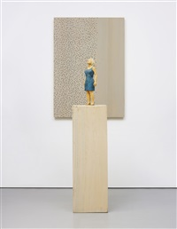 untitled (female figure looking up and relief with dots) by stephan balkenhol