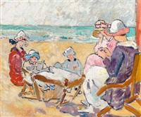 femmes et enfants sur la plage by louis valtat