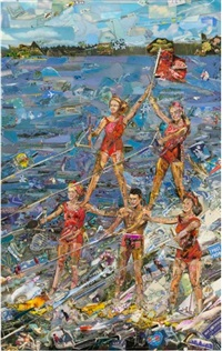 postcards from nowhere: water skiers by vik muniz