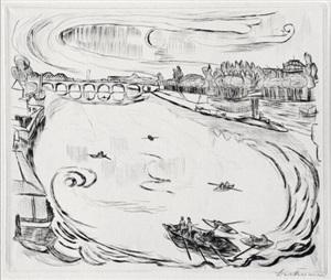 main river landscape by max beckmann
