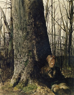 seated by a tree, copyright: pacific sun by andrew wyeth