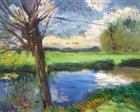 riverbank, near oxford by john singer sargent