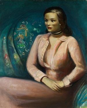 girl in pink dress by guy pène du bois