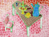 tan table with green pitcher and chair (pink background) by jerry mischak