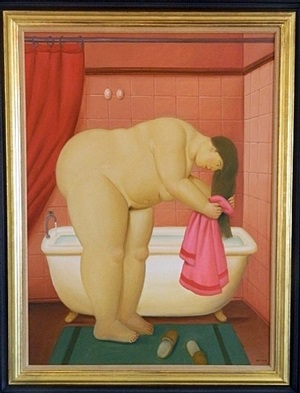 woman drying hair by fernando botero