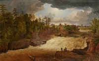little falls on the passaic, with a storm coming up by jasper francis cropsey