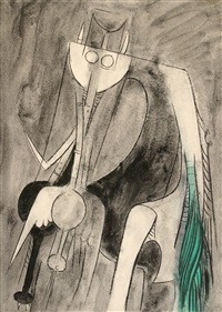 personnage sur fond gris by wifredo lam