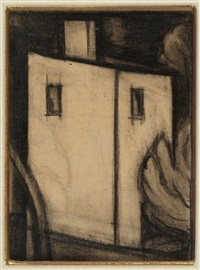 "study for ""in scarlet and black"" by oscar florianus bluemner"