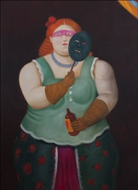 woman with mask by fernando botero