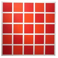 25 carrés : 50 % rouge foncé, 50 % rouge clair by françois morellet