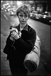 uk. london. 1960. girl holding kitten. by bruce davidson
