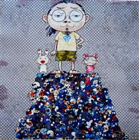 kaikai, kiki & me on the blue mount by takashi murakami