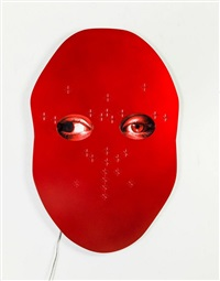 not yet titled (metal wall mounted panel 6/9) by tony oursler