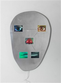 not yet titled (metal wall mounted panel 9/9) by tony oursler