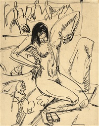 akt auf dem sofa (nude on a couch) by ernst ludwig kirchner