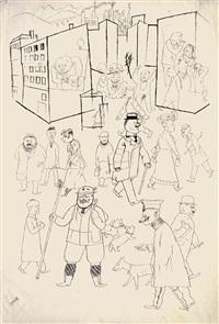 belebte straßenszene (mit däubler, herrmann-neiße, schmalhausen u.a.) / busy street scene (with däubler, herrmann-neiße, schmalhausen etc) by george grosz