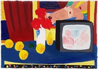 study for t.v. still life (re-run) by tom wesselmann