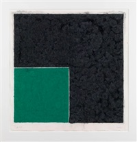 colored paper image xviii (green square with dark grey): axsom cat. #158 by ellsworth kelly