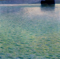 island in the attersee by gustav klimt