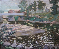 sunlit stream by ernest lawson