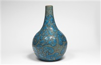 bouteille en céramique à corps sphérique et long col galbé / ceramic bottle with spherical body and long curved neck by raoul lachenal