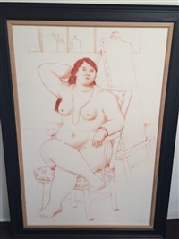 sitting woman by fernando botero