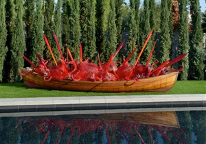 scarlet fire boat by dale chihuly