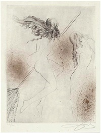 hexe mit besen (aus faust mappe) by salvador dalí