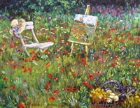 artist's easel in the garden by h. gordon wang