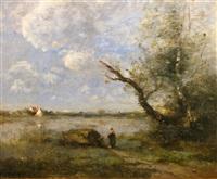 environs de mantes, le gué sur la seine by jean-baptiste-camille corot