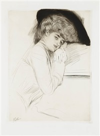 portrait d'une femme en chapeau à plumes (portrait of lady in a feathered hat) by paul césar helleu