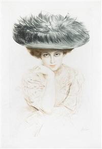 femme au grand chapeau bleu by paul césar helleu