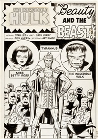 incredible hulk #5 tyrannus beauty and the beast splash page 1 original art (marvel, 1962) by jack kirby and dick ayers