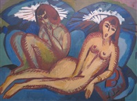 lungernde mädchen (girls relaxing) by ernst ludwig kirchner