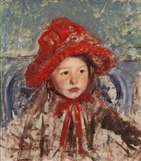 little girl in a large red hat by mary cassatt