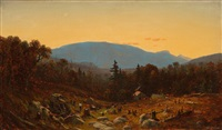 a sketch of hunter mountain, catskills (twilight on hunter mountain) by sanford robinson gifford