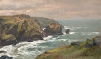 view of mullen cove from the artist's window, cornwall, england by william trost richards