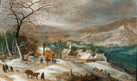 winter landscape with village (figures are by jan brueghel the younger) by joos de momper the younger