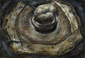 still life with potato by ivan albright