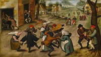 a village street with peasants by pieter brueghel the younger