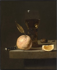 still life with a roemer, an orange and a chesnut by juriaen van streeck