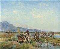 horsemen crossing a stream by georges washington