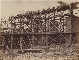 construction of a viaduct on rail line of chemin de fer paris-marseille by edouard-denis baldus
