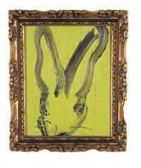 black bunny on green by hunt slonem
