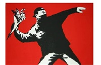 love is in the air (flower thrower) by banksy