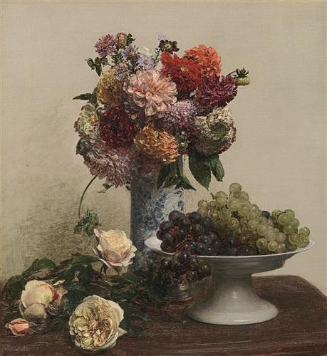 fécondité (fleurs et coupe de raisins) by henri fantin-latour