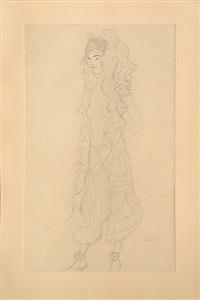 figurine, stehend, mit spitzenhaube. figurine, standing, with lace bonnet. by gustav klimt