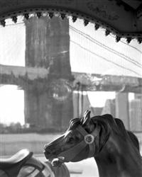 detail with brooklyn bridge, junes carousel by matthew pillsbury